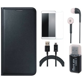 Moto C Plus Leather Flip Cover with Kick Stand with Memory Card Reader, Tempered Glass, Earphones and USB Cable