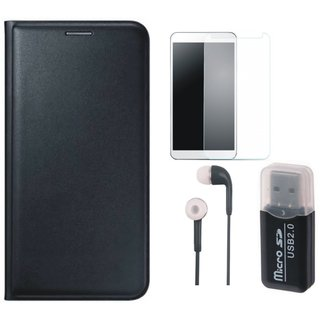 Moto C Plus Leather Flip Cover with Kick Stand with Memory Card Reader, Earphones and Tempered Glass