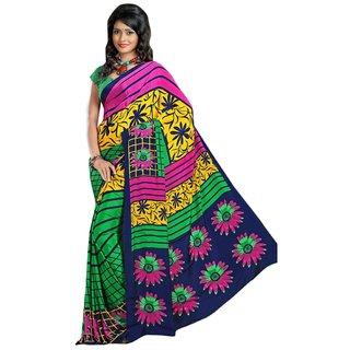 Triveni Multicolor Crepe Silk Printed Saree With Blouse