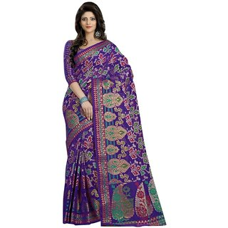 Triveni Purple Net Plain Saree With Blouse