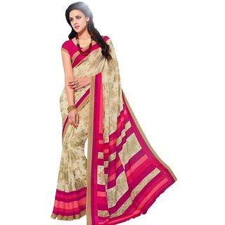 Triveni Multicolor Jute Linen Printed Saree With Blouse