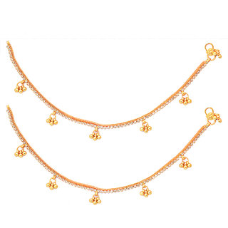 Gold Plated White Stone Anklet With Ghungroo by sparkling Jewellery