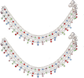 Sparkling Alloy Multichain Heavy Payal With Multicolor Stone