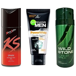 NEW COMBO KS KAMASUTRA SPARK+GARNIER POWER WHITE FACE WASH+WILD STONE HYDRA ENERGY.