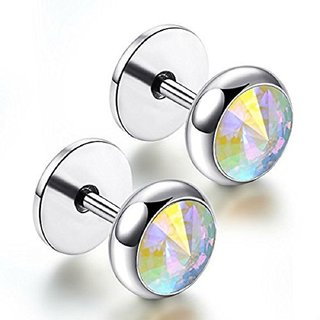 Men's Screw Stud Silver Color Barbell Earrings with Round Opal Cubic Zirconia CZ, 316L Stainless Steel