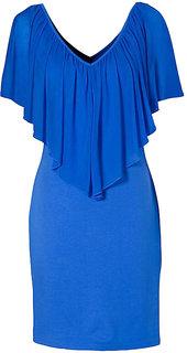 Aashish Garments - Blue V Neck Summer Cold Shoulder Women Dress