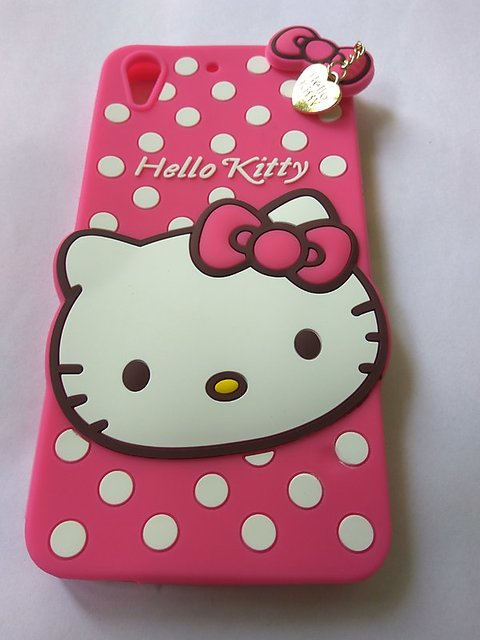 89c343b9d FOR HTC Desire 728 Anvika Cute cartoon Hello Kitty Silicone With Pendant  Back Case Cover For