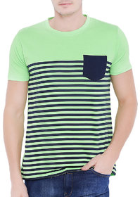 Stylogue Green Stripes Casual T-Shirt For Men