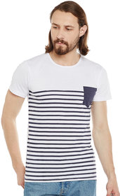 Stylogue Men'S Navy & White Round Neck T-Shirt
