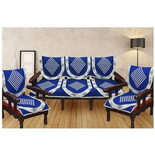 Shiv kirpa Blue Color 5 Seater Sofa Cover Pack Of 6