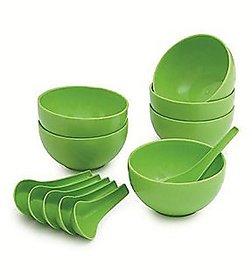12 Pcs Microsafe Soup Bowl Set ( 6 Bowls + 6 Spoons )