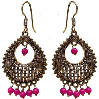 Lucky Jewellery Dainty Drop Earring With Golden Oxidised Plating