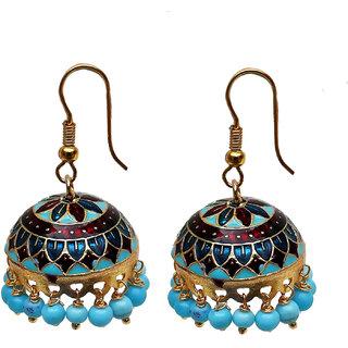 Lucky Jewellery Designer Meenakari Enamelling Dangled Jhumki For Women