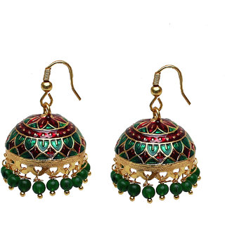 Lucky Jewellery Designer Meenakari Enamelling Dangled Jhumki For Women