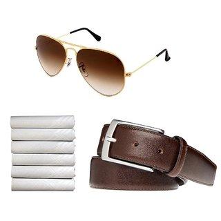 Stylish Combo Brown Aviator 3 White Handkerchiefs And Belt