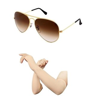 Classsic Combo Of Brown Aviator With 1 Pair Skin Arm Sleev