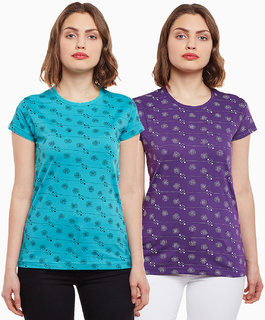 Vimal-Jonney Purple And Turqouise Printed Casual Tops For Women(Pack Of 2)