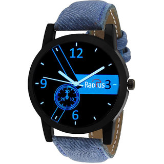 Radius Round Dail Blue Leather And Metal And Stainless Steel StrapMens Quartz Watch For Men