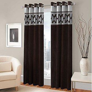 Satnam Global Fabric Fancy Designer Pan Long Crush Brown Color Eyelet Door Curtains (2 Piece) - 4 x 9 Feet