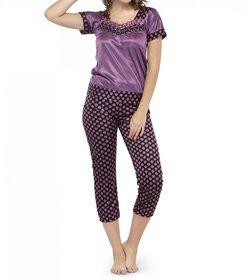 Lcnd Women Polka Dot Print Pajama Set Nightwear
