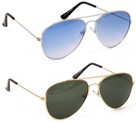 Yuvi Blue And Green Sunglasses Combo Pack Of 2