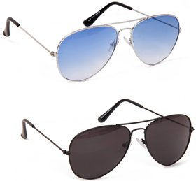 Yuvi Blue And Black Sunglasses Combo Pack Of 2