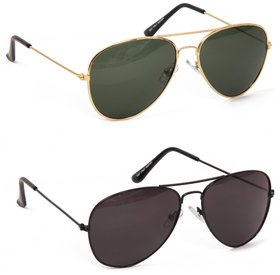 Yuvi Black And Green Sunglasses Combo Pack Of 2