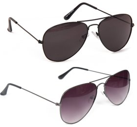 Yuvi Black And Black Gray  Sunglasses Combo Pack Of 2