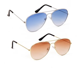 Yuvi Blue And Brown Shade UV Protection Aviator Unisex Sunglasses Combo Pack Of 2