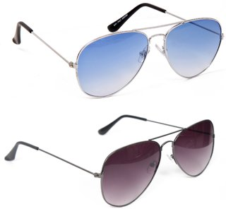 Yuvi Blue And Black UV Protection Aviator Unisex Sunglasses Combo Pack Of 2