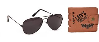 Yuvi Black Sunglasses  Ap T Wallet Pack of 2
