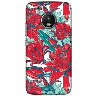 Moto G5 plus, Red Flower Illustration Slim Fit Hard Case Cover/Back Cover For Moto G5 plus
