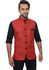 434f2e51b95 OORA HARTMANN Men s Red Color Woven Cotton Blend Nehru and Modi Jacket  Ethnic Style For Party