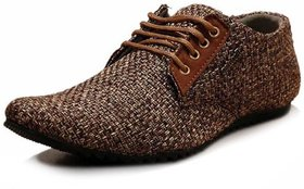 00RA Stylish Brown Color Jute Casual Laceup Shoes for Men