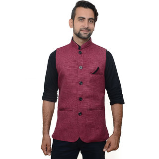 OORA HARTMANN Men's Cherry Color Woven Cotton Blend Nehru and Modi Jacket Ethnic Style For Party Wear