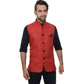 OORA HARTMANN Men's Red Color Woven Cotton Blend Nehru and Modi Jacket Ethnic Style For Party Wear