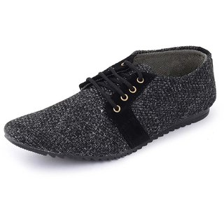00RA Stylish Black Color Jute Casual Laceup Shoes for Men