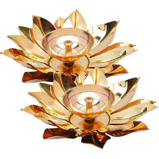 Decorate India Brass and Copper Table Akhand diya 5 inch diameter Brass, Copper Table Diya Set  (Height 2 inch, Pack of