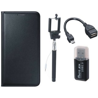 Redmi Note 4 Leather Cover with Memory Card Reader, Selfie Stick and OTG Cable