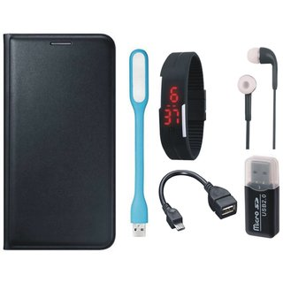 Redmi Note 4 Leather Cover with Memory Card Reader, Digital Watch, Earphones, USB LED Light and OTG Cable