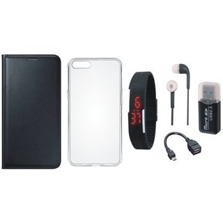 Redmi Note 4 Leather Cover with Memory Card Reader, Silicon Back Cover, Digital Watch, Earphones and OTG Cable