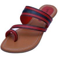 VIREN Women's Red Faux Leather Stylish, Party Wear Flats (4-9 UK)