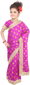 Pratima Violet embosed Georgette Ready to wear Saree for Girls