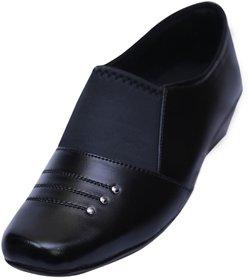 VIREN Women's Black Faux Leather Stylish, Office Wear Formal Slip-On Shoes (4-9 UK)