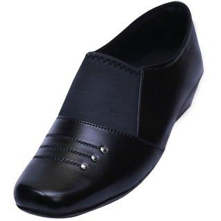 VIREN Womens Black Faux Leather Stylish Office Wear Formal Slip-On Shoes (4-9 UK)