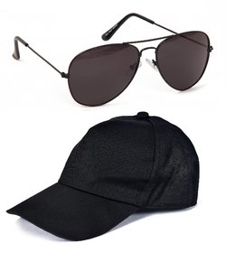 Yuvi Black Sunglasses  Black Cap Pack of 2