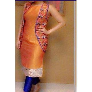 Salwar Soul Designer Orange Colour Banglory Silk Salwar Suit With jacket for women  Girls