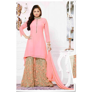 Salwar Soul New Party Wear Peach And Beige High Neck Suit With Embroidered Plazzo for women  girls