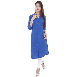 Kurtis For Women  Casual Long Solid 100 Cotton Regular Fit Smart Samirul