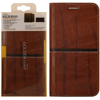 Rich Boss Premium Quality Synthetic Leather Flip Cover Stand View Feature for Samsung Galaxy J7 Brown - Sold By MOBIMON